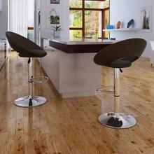 vidaXL Barstolar 2 st brun konstläder