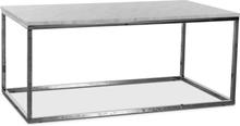 Accent soffbord 110 - Vit marmor / Kromat underrede