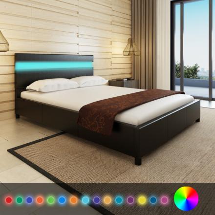 vidaXL Säng med LED 140 x 200 cm konstläder svart