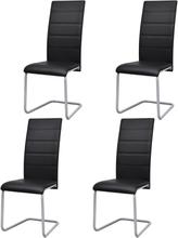 vidaXL Matstolar 4 st fribärande svart