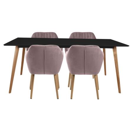 Spisebordssæt - Nordic spisebord + 4 Rosa Mynte stole