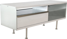 Mediabänk Frank - 116 cm (vit ekanér)