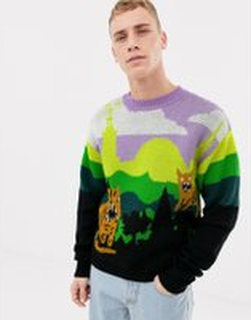 Tiger of Sweden Jeans regular fit jaquard wool tiger print jumper in multi - Pattern