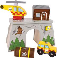 Redningsstation til din togbane i træ - BRIO kampatibel