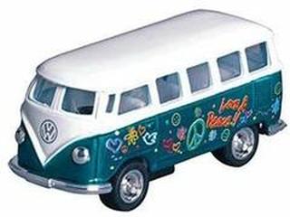 Grøn VW Bus med Peace Print - Størrelse 1:64