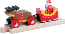 Bigjigs Rail Jule Togsæt - Rudolf Rensdyr med julemand i slæde