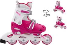 WANTED 3i1 Justerbar rulleskøjter - pink/hvid - str. 27-30