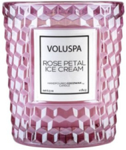 Voluspa Boxed Textured Glass Candle Rose Petal Ice Cream