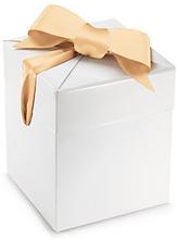 Raffinierte Geschenkbox mit Satin-Schleife, weiß