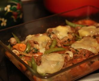 recipe: zapiekanka makaronowa z mięsem mielonym i pieczarkami [35]