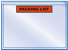 Dokumententaschen RAJALIST Eco bedruckt, ''Packing List'' 225 x 165 mm Mini-Pack
