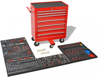 Verktøyvogn med 1125 verktøy stål rød