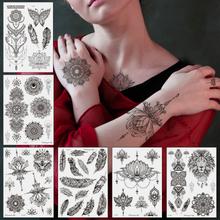 Schwarze Feder Mandala Blume Temporäre Tätowierung Aufkleber Wasserdichte Körperkunst Arm Tattoo Transferpapier