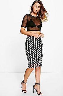 Ella Metallic Zig Zag Longline Skirt