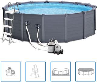 Intex Pool med grafitgrå paneler 478 cm PCV 16805 l 28382GN