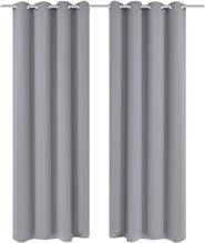 vidaXL Mörkläggningsgardiner 2 st med öljetter 135x175 cm grå