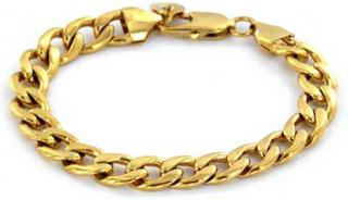 Armband Pansarlänk 9mm 18k Gold Stainless Steel Chain
