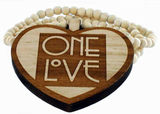 Trähalsband One Love Natural n Brown