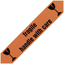 PVC Warnband mit Standardaufdruck ''fragile handle with care'' und Symbol