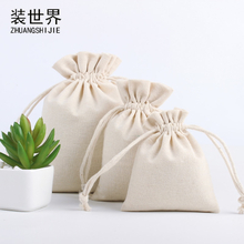 Wholesale Price Natural Resuable Jute Linen Drawstring Pouch Packaging Gift Bag Logo Printed Jewelry Christmas Bag