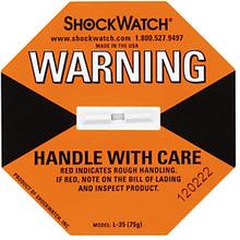 Shockwatch Stoßindikator orange (kleine Packstücke bis 22 kg)