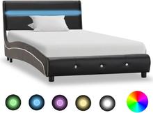 vidaXL Sängram med LED svart konstläder 90x200 cm