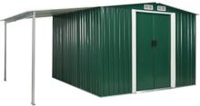 vidaXL Trädgårdsbod med skjutdörrar grön 386x259x178 cm stål