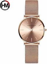 Luxury Hannah Martin Fashion Ladies Watches Rose Gold Women Watches Elegant Minimalism Rhinestone Casual Female Waterproof Clock