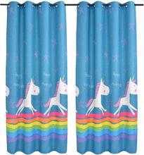 vidaXL Mörkläggningsgardiner för barn 2 st 140x240 cm enhörningar blå
