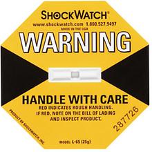 Shockwatch Stoßindikator gelb (kleine Packstücke über 112 kg)