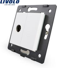 Free Shipping, Livolo White Plastic Materials, EU Standard, DIY Parts, Function Key For TV Socket,VL-C7-1V-11