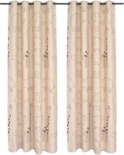 vidaXL Mörkläggningsgardiner för barn 2 st 140x240 cm djur beige
