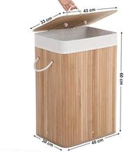 Bambus sammenklappelig vasketøjskurv med aftageligt vaskbart for, 72 L, XL