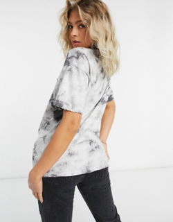Missguided Playboy oversized t-shirt in tie dye print-Multi