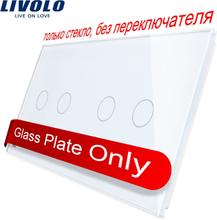 Livolo Luxury 4colors Pearl Crystal Glass,151mm*80mm, EU standard, Double Glass Panel C7-C2/C2-11 (4 Colors),logo/no logo