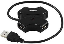 DELTACO DELTACO USB 2.0 hub, 4xType A porte, 0,4m, sort