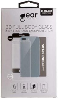 GEAR Härdat Glas 3D 2in1 Front & Back iPhone8 Plus Edge to Edge Svart med Klar baksida