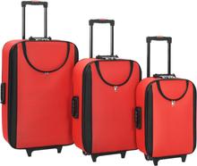 vidaXL Mjuka resväskor 3 st röd oxfordtyg