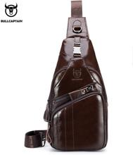 BULLCAPTAIN 2020 Genuine Leather chest bag for men casual messenger bags fashion men's chest pack large capacity Business bag's