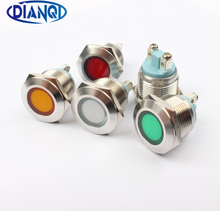 LED Metal Indicator light 19mm waterproof Signal lamp LIGHT 3V 6V 12V 24V 220v screw connect red yellow blue white 19ZSD.PY.L