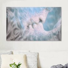 Blaue Liebe Kuss abstrakte Kunst auf Leinwand Malerei Wandkunst Bild drucken