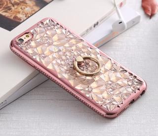 Stilrent DIAMOND skal med Ringhållare för iPhone 6/6S ROSEGULD