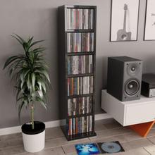 CD-hylla svart högglans 21x20x88 cm spånskiva