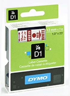 Dymo Märkband Dymo D1 12 mm, röd på vit 45015 Replace: N/ADymo Märkband Dymo D1 12 mm, röd på vit