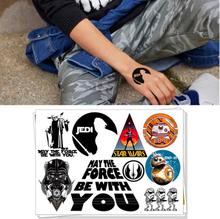 Children Temporary Tattoo Sticker Cartoon Body Art Novelty Gag Toys for Star Wars Jedi Darth Vander Fans Waterproof 2-3 Days