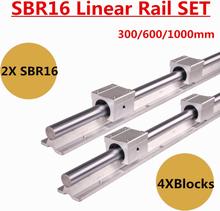SBR16 16mm Linear Slide Rail Set 300 400 500 600 1000 mm Fully Support Linear Guide Rails Slide Shaft Rod SBR16UU Bearing Block