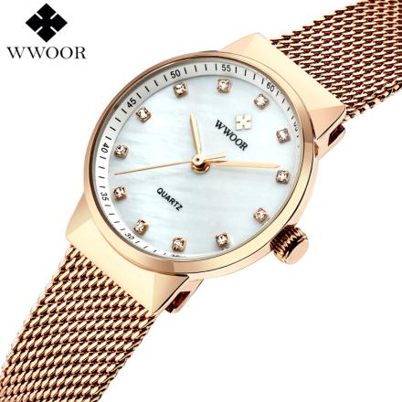 WWOOR Women Watches Quartz Waterproof Rose Gold Dress Ladies Watch Women Brand Luxury Mesh Bracelet Wrist Watch Relogio Feminino