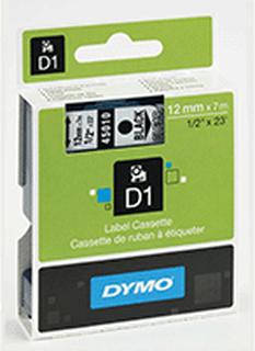 Dymo Märkband Dymo D1 12 mm, svart på transp 45010 Replace: N/ADymo Märkband Dymo D1 12 mm, svart på transp