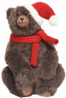 Bjørn med julehue Juledekoration