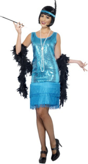 1920 talls Frynse flapper kostyme - blå
